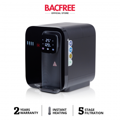 BACFREE Watero UF All-in-One Instant Heating Smart Water Filter Dispenser with 5 Stage Filtration System - Black