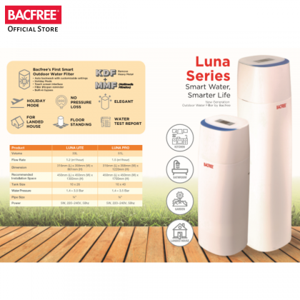 BACFREE Luna Lite Smart System Outdoor Filter for Home with Automatic Backwash (Free Installation within Klang Valley & Seremban Area