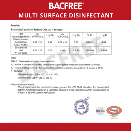 [Bulk Purchase Promo Available]BACFREE 500ml Multi-Purpose Surface Sanitizer & Disinfectant Spray Kills 99.9% Bacteria