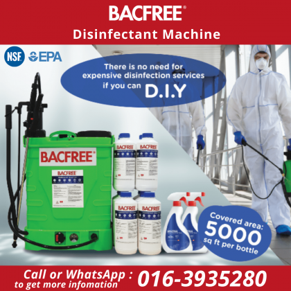 BACFREE D.I.Y Disinfectant Machine plus Chlorine Dioxide kills 99.99% Virus & Bacteria Combo Package