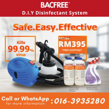 BACFREE D.I.Y Disinfectant Sprayer with Chlorine Dioxide kills 99.99% Virus & Bacteria Package for Household / Office