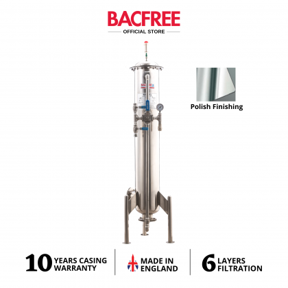 BACFREE ER19S Stainless Steel 304 Polished Finishing Outdoor Water Filters with 6 Layers MultiMedia Filtration (Free Installation)
