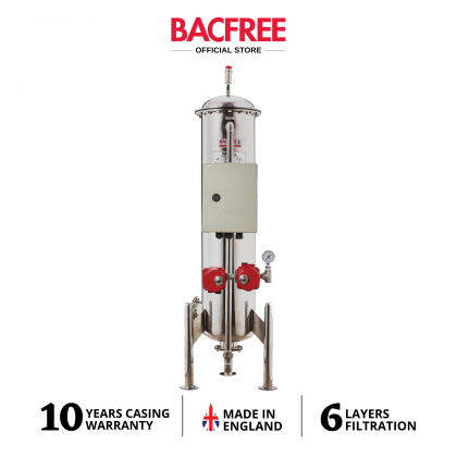 BACFREE ER28M-Auto Backwash Stainless Steel 304 Matte Finishing Outdoor Water Filters with 6 Layers MultiMedia Filtration (Free Installation)